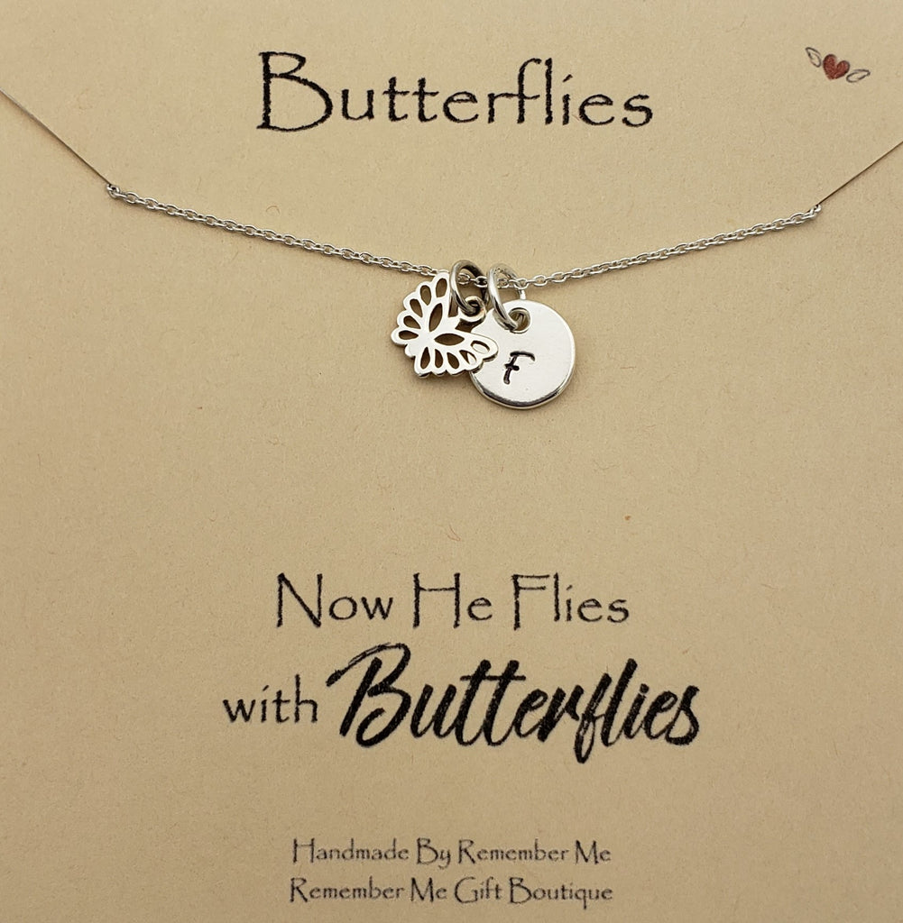 Personalized Remembrance Necklace - Butterfly Memorial Gifts - Remember Me