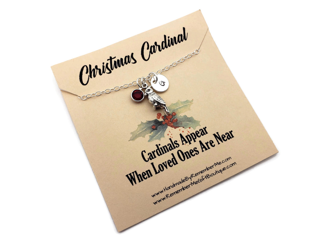 Christmas Cardinal Memorial - Remembrance Necklace with Birthstone - Remember Me