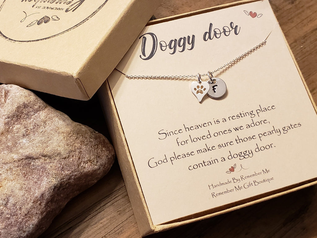 Pet Memorial Necklace - Pet Remembrance Gifts - Doggy Door - Remember Me