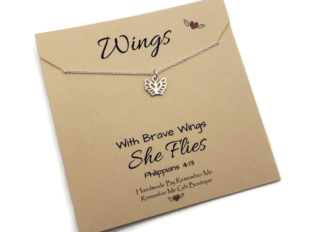 Inspirational Jewelry for Women - Faith Based Jewelry - Brave Wings She Flies - Remember Me