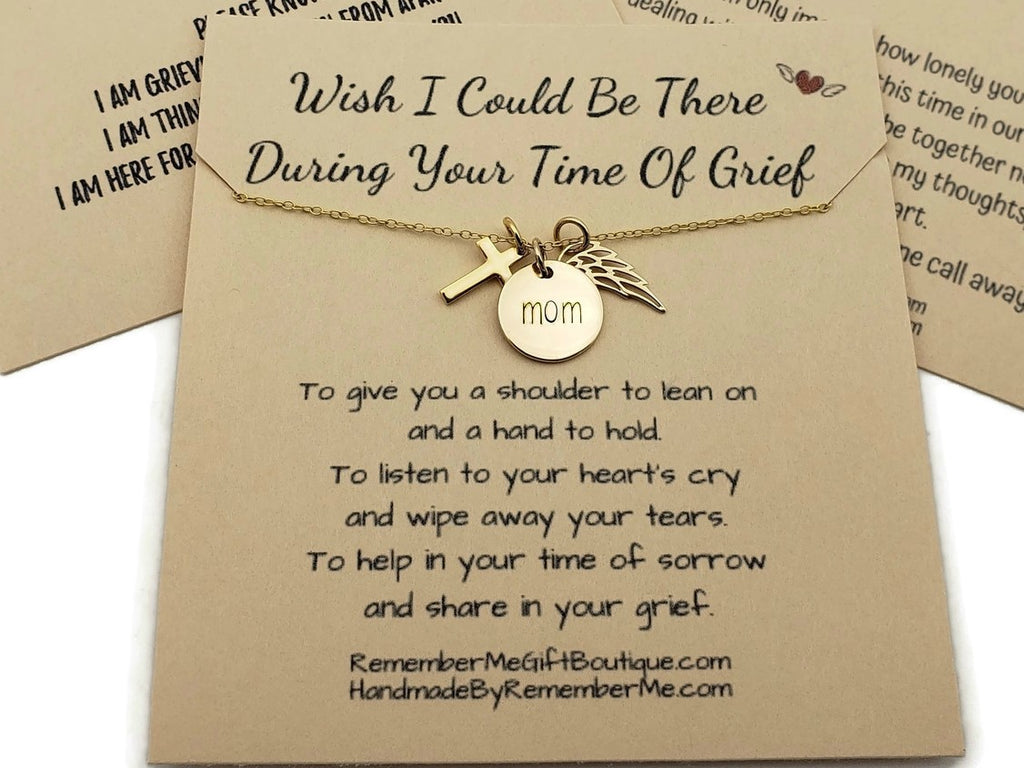 Memorial Jewelry for Loss of Mother - Gold Angel Wing Necklace - Remember Me
