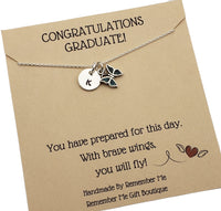 Graduation Necklace Butterfly - Sterling Silver Initial Necklace - Remember Me Gifts - Remember Me