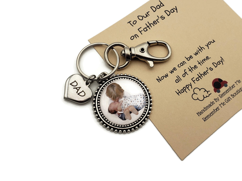 Father's Day Keychain with Photo - To Our Dad Key Chain Gift - Remember Me
