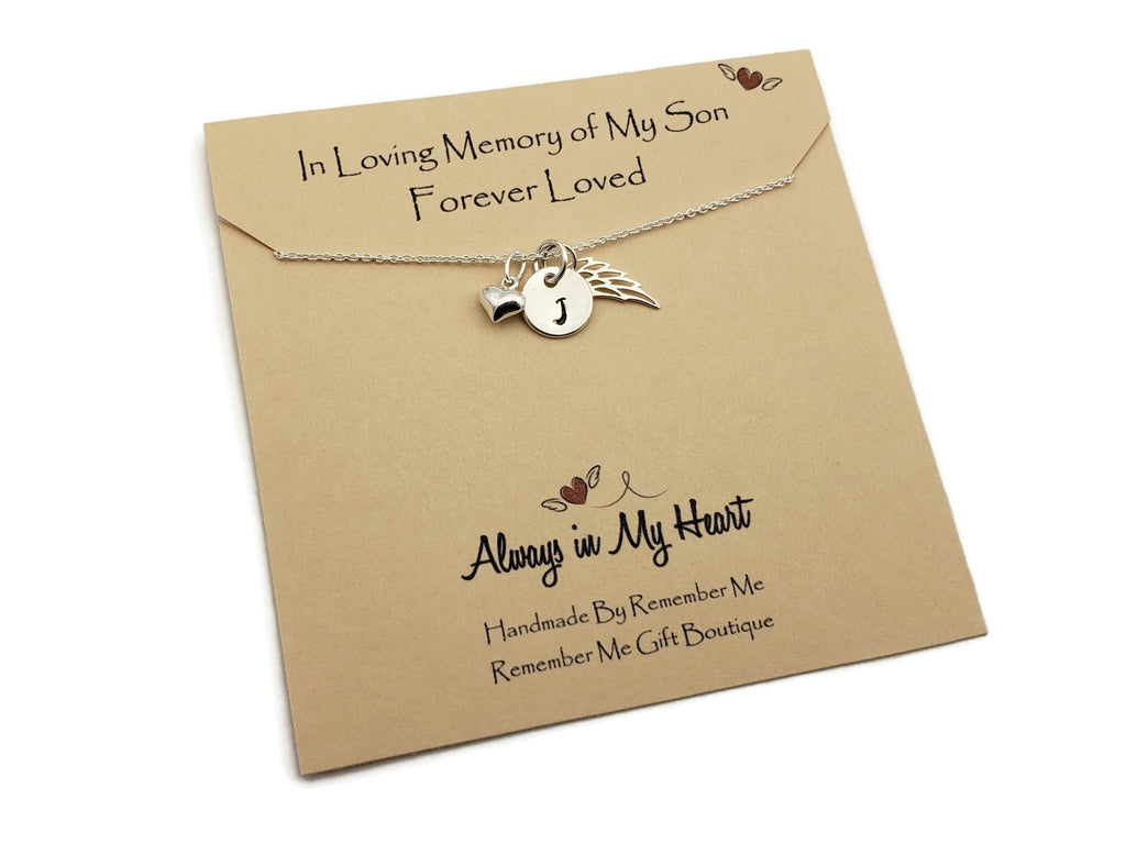 Memorial Gifts Loss of Son – Sterling Silver Memorial Necklace - Remember Me