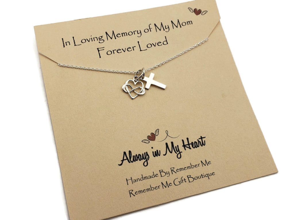 Memorial Necklace for Mom Infinity - Loss of Mother Jewelry - Remember Me