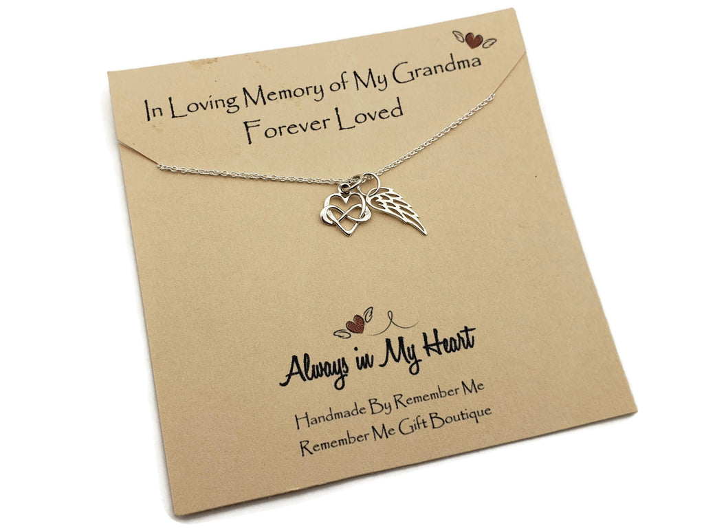 Loss of Grandmother Gift - Sterling Silver Angel Wing Necklace - Remember Me