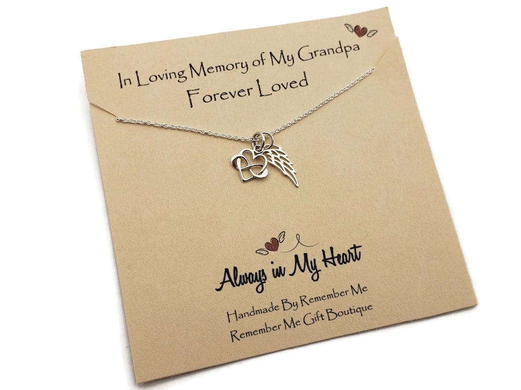 Loss of Grandfather - Sterling Silver Angel Wing Necklace - Remember Me