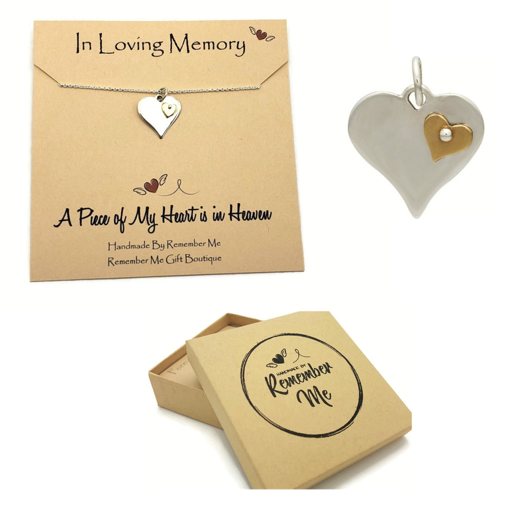 Remembrance Necklace, A Piece of My Heart is in Heaven - Remember Me Gifts - Remember Me