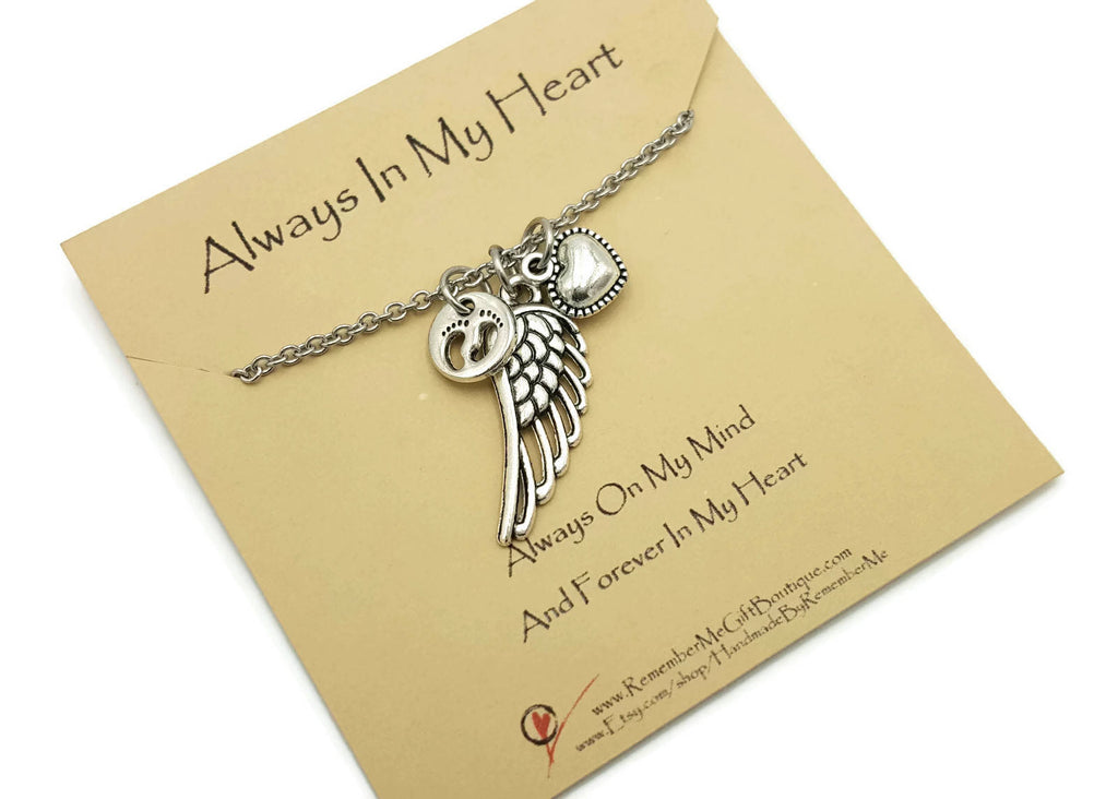 Infant Loss Necklace, Always in My Heart - Loss of Baby Memorial Gifts - Remember Me