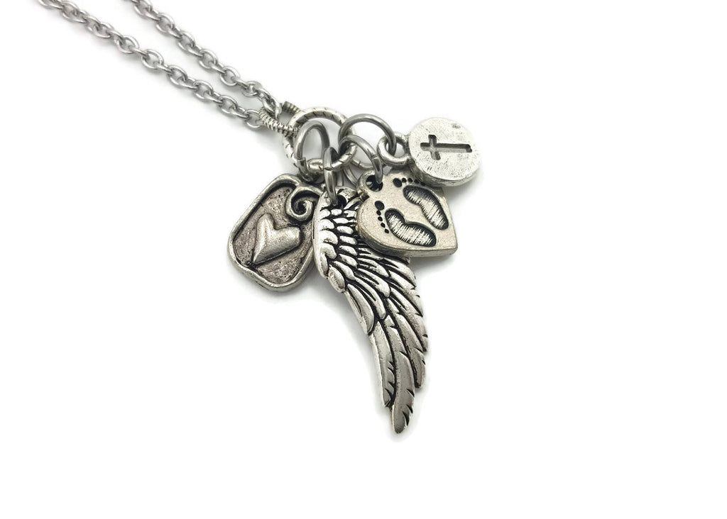 Miscarriage Necklace for Loss of Baby - Pewter Angel Wing, Footprints, Cross, Heart - Remember Me