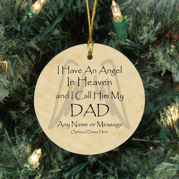 Memorial Christmas Ornaments for Loss of Dad - Angel Memorial Ornaments - Free Shipping - Remember Me