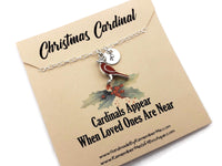 Christmas Cardinal Memorial Remembrance Necklace - Remember Me Gifts - Remember Me
