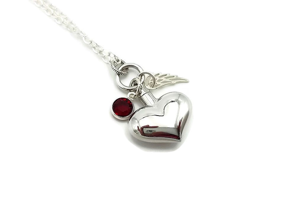 Ashes Pendant Necklace - Sterling Silver Angel Wing and Birthstone - Remember Me