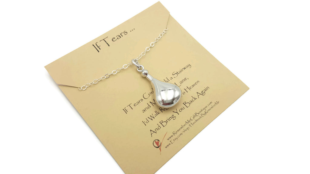 Teardrop Ashes Pendant Necklace - Sterling Silver Cremation Jewelry - Remember Me