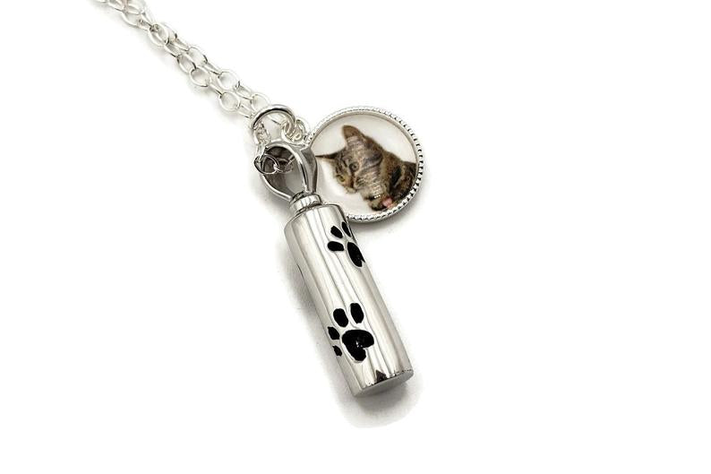 Pet Cremation Necklace in Sterling Silver, Pet Urn Jewelry With Paw Print - Remember Me