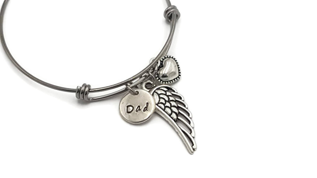 Loss of Dad Hand Stamped Angel Wing Bracelet - In Memory of Father Gift