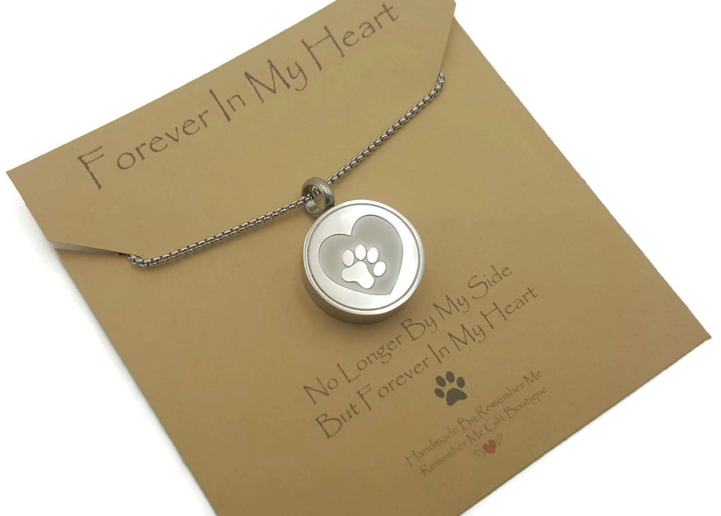 Pet Cremation Necklace, Dog Ashes Jewelry, Cremation Jewelry for Pet Ashes Paw Print - Remember Me