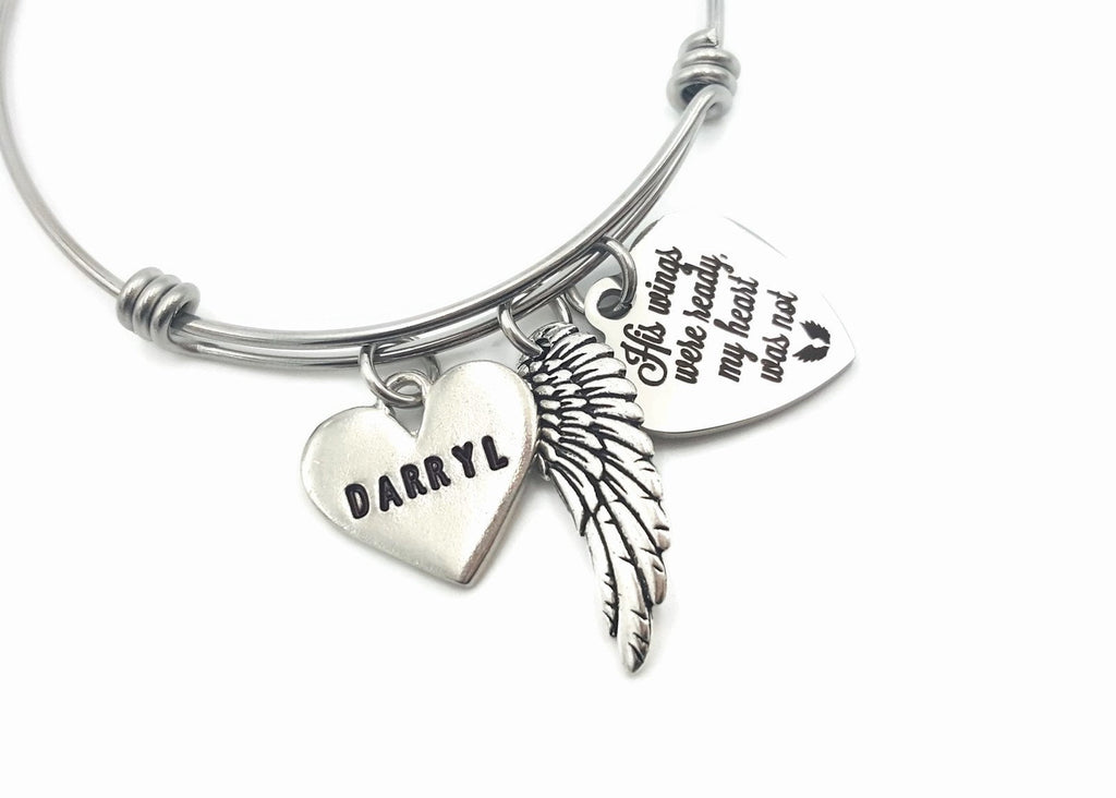 Angel Wing Bracelet, Personalized Memorial Bracelet, His Wings - Remember Me