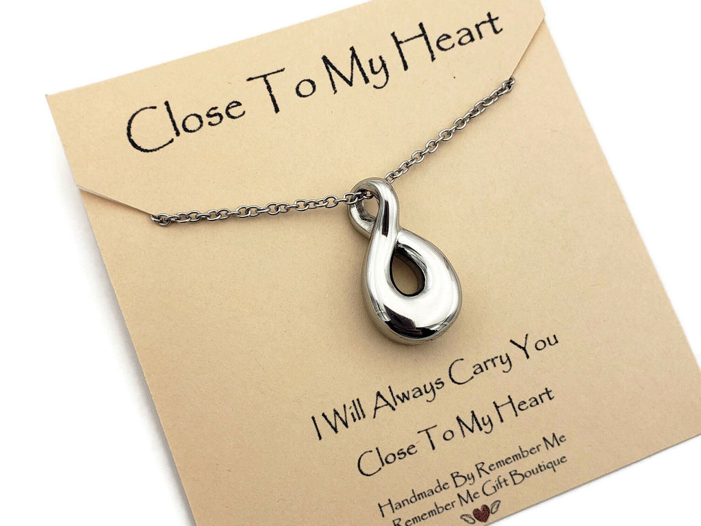 Infinity Ashes Pendant Necklace - Stainless Steel Cremation Jewelry - Remember Me