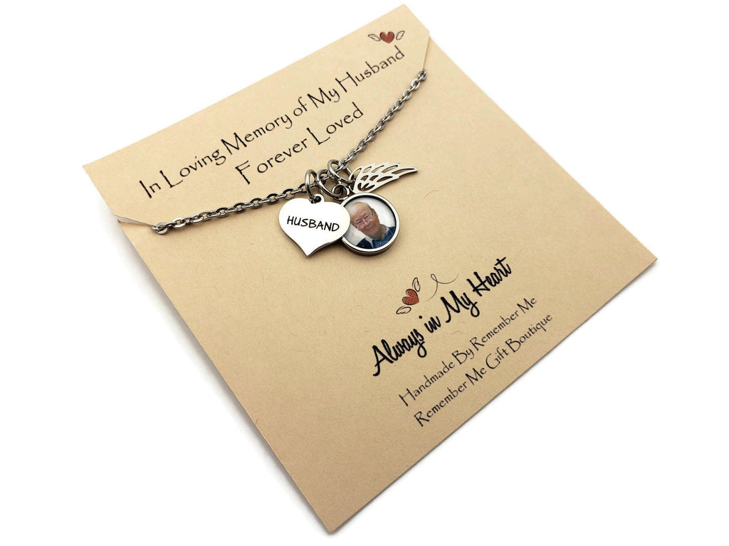 Memorial Photo, Loss of Husband Remembrance Necklace, Remember Me Gifts - Remember Me