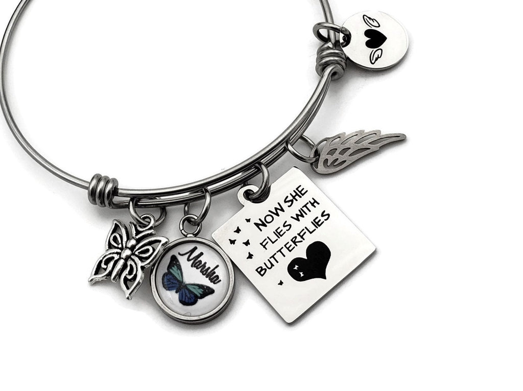 Personalized Memorial Bracelet with Butterfly Charm - Remember Me Gifts - Remember Me