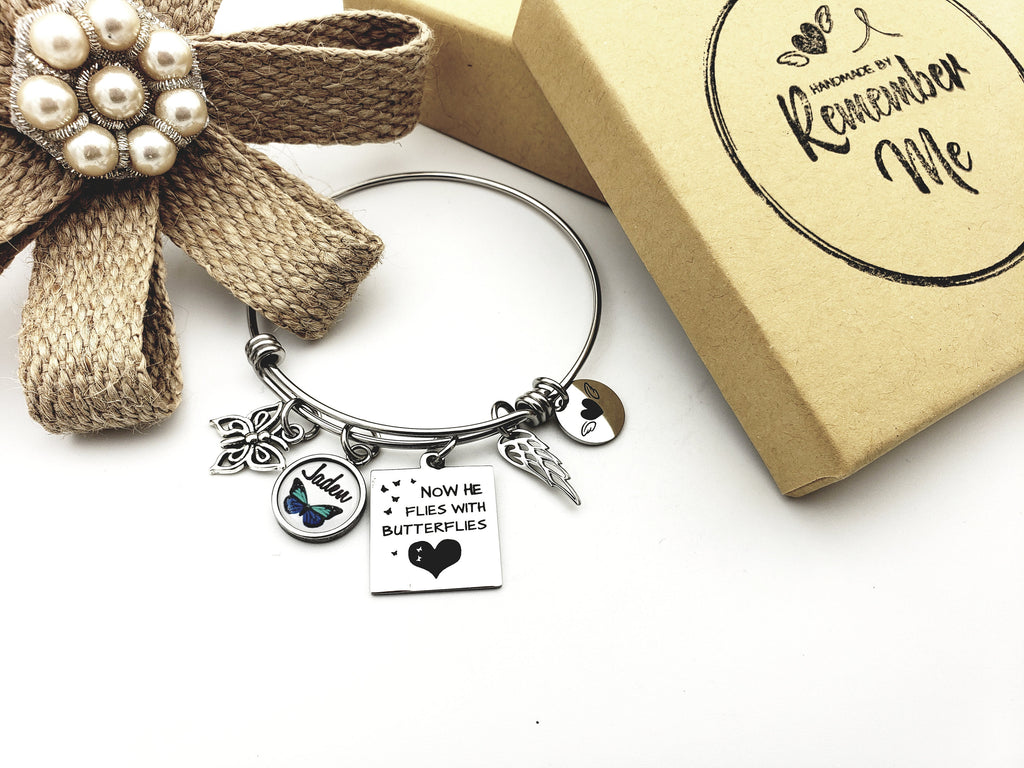 Personalized Memorial Bracelet - Now He Flies with Butterflies - Remember Me