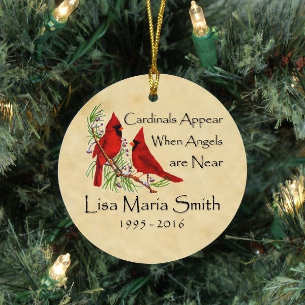 Cardinal Memorial Ornament - Remember Me Gifts - Free Shipping