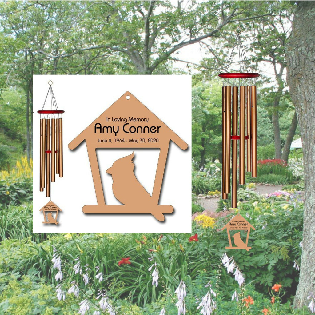 Personalized Memorial Wind Chimes - Cardinal Wind Chimes - Free Shipping - Feeder