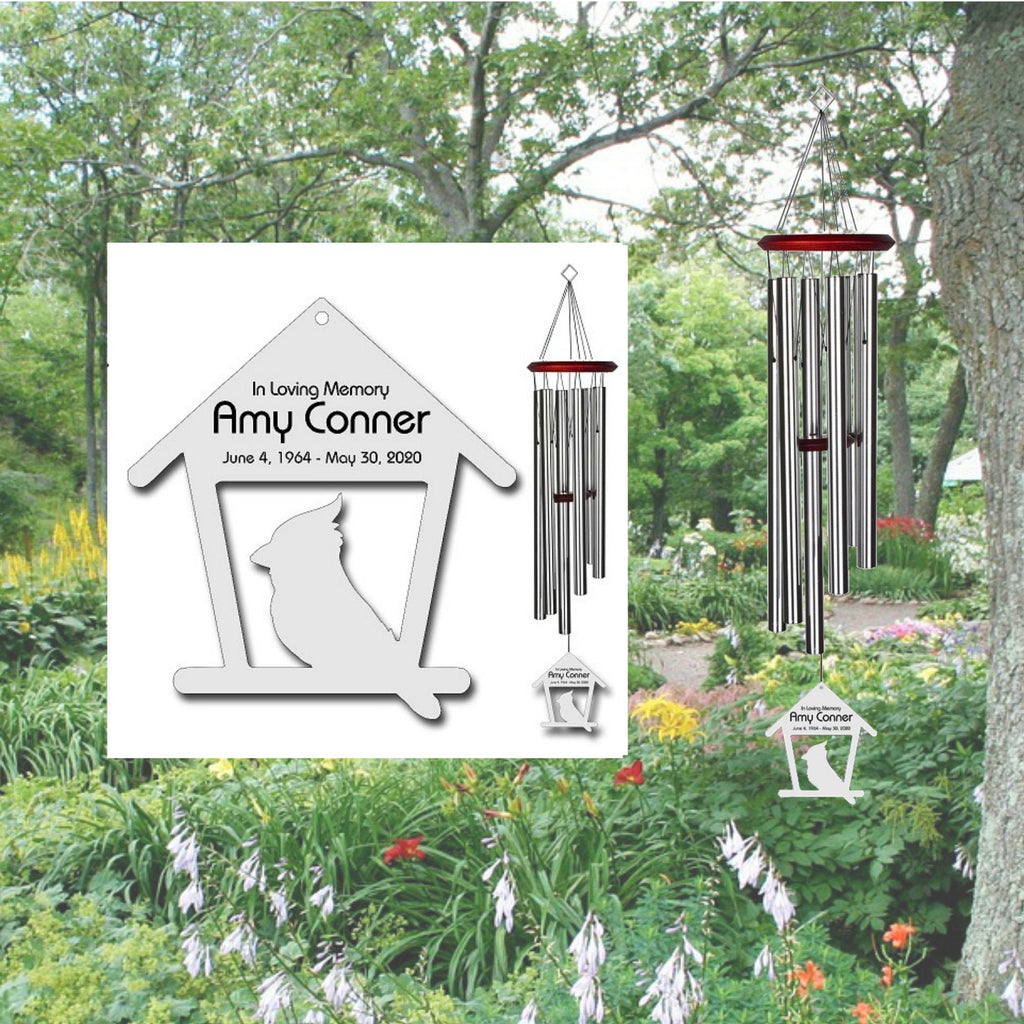 Cardinal Wind Chimes - Personalized Memorial Wind Chimes - Free Shipping - Feeder