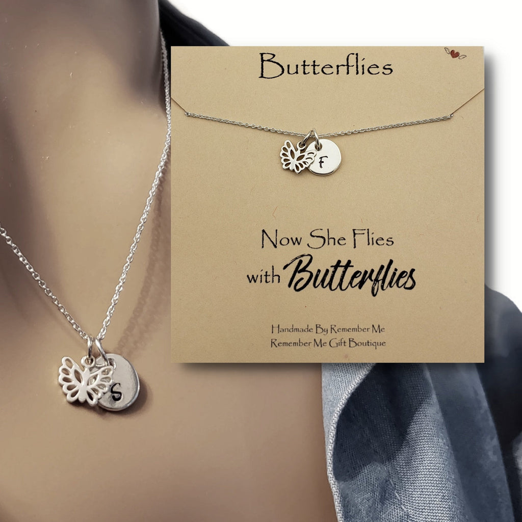 Now She Flies with Butterflies - Remembrance Necklace - Remember Me Gifts - Remember Me