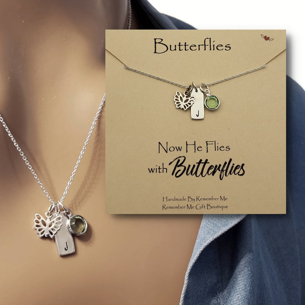 Butterfly Remembrance Necklace - Now He Flies with Butterflies - Personalized Memorial Gifts - Remember Me