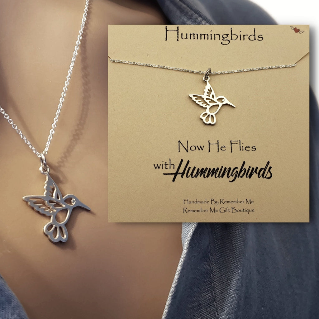 Sterling Silver Hummingbird Remembrance Necklace - Jewelry with a Message - Remember Me