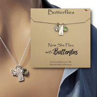 Butterfly Remembrance Necklace - Now She Flies with Butterflies - Remember Me Gifts - Remember Me