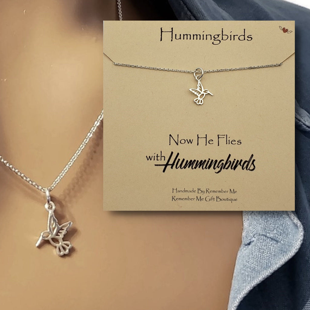 Sterling Silver Remembrance Necklace, Hummingbird Memorial - Remember Me Gifts - Remember Me