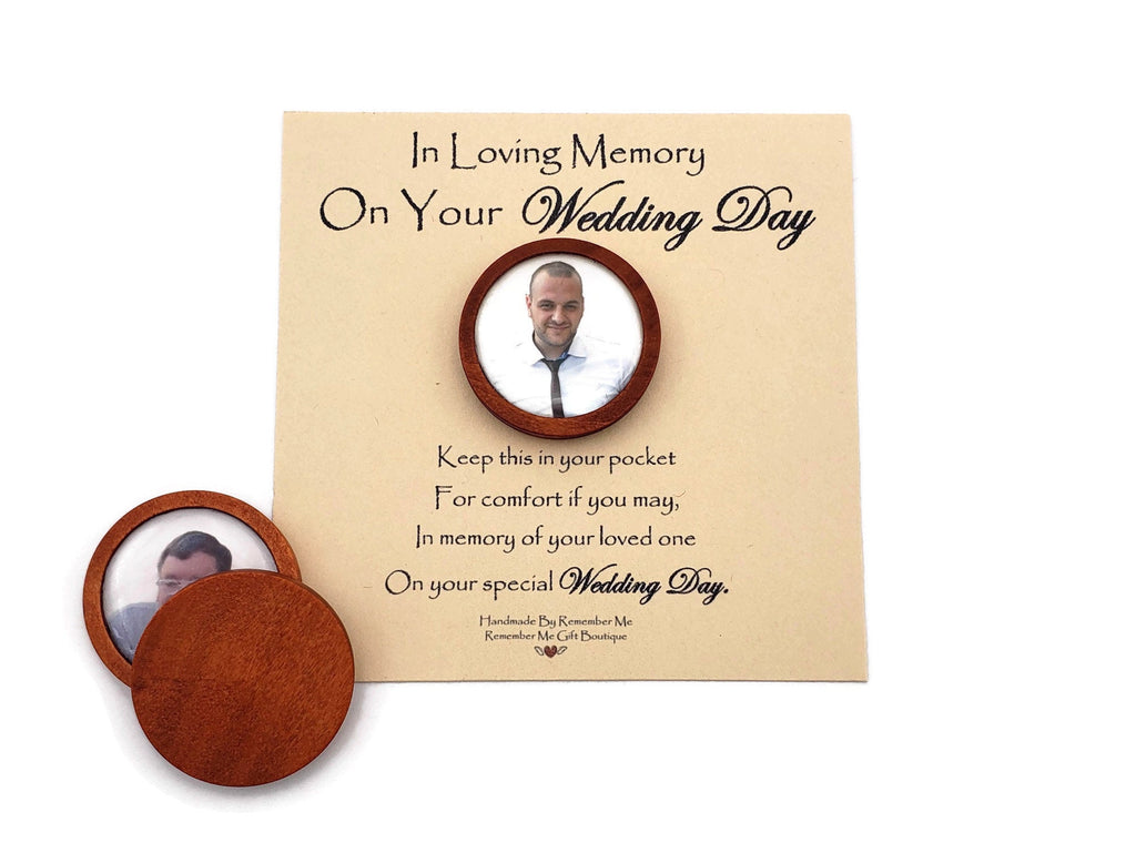 Wedding Photo Memorial for Groom - Pocket Token Handmade by Remember Me