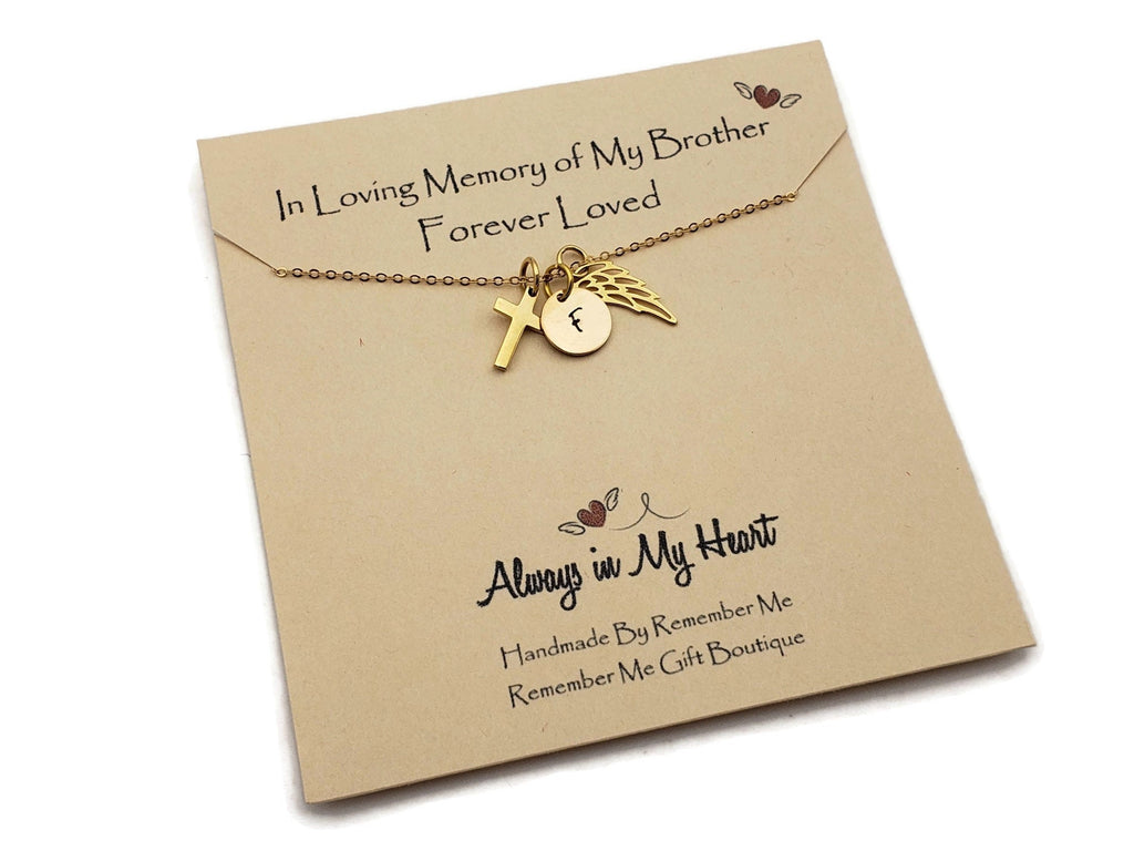 Brother Remembrance Necklace - Memorial Gifts for Loss of Brother - Gold