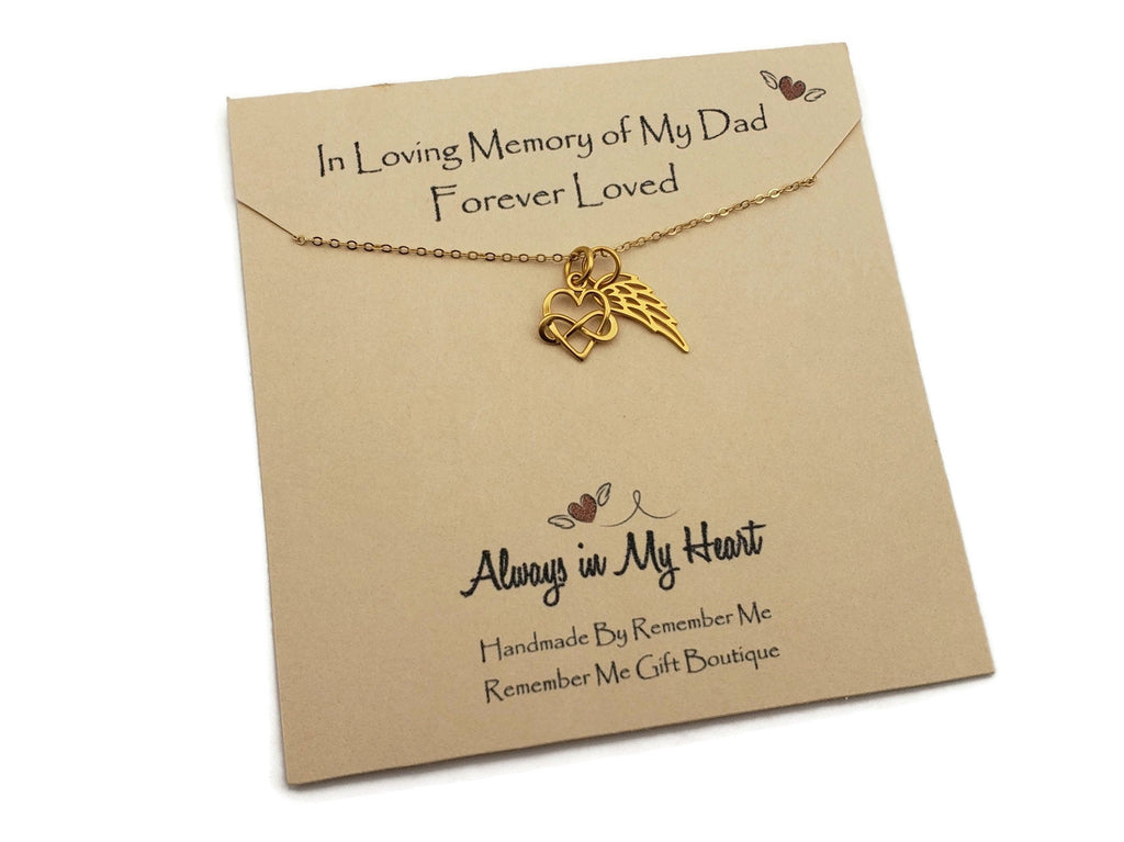 In Memory of Dad - Gold Remembrance Necklace - Remember Me Gifts