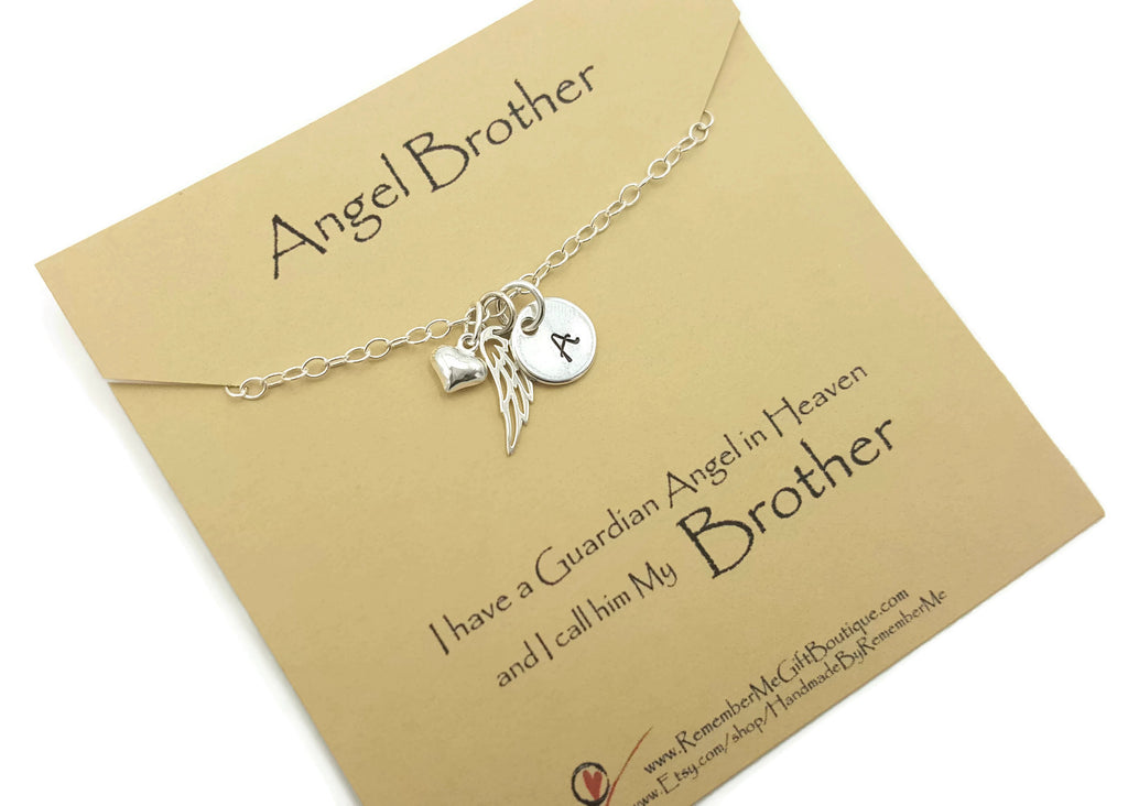 Memorial Jewelry for Loss of Brother - Sterling Silver Angel Wing - Memorial Gift Idea - Remember Me