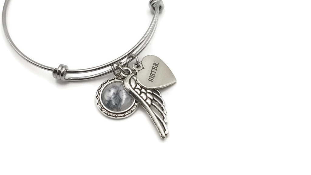 Memorial Bracelet with Photo and Sterling Silver Pendant - Options Available - Remember Me