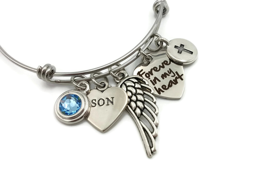 Personalized Memorial Bracelet, Forever In My Heart - Remember Me