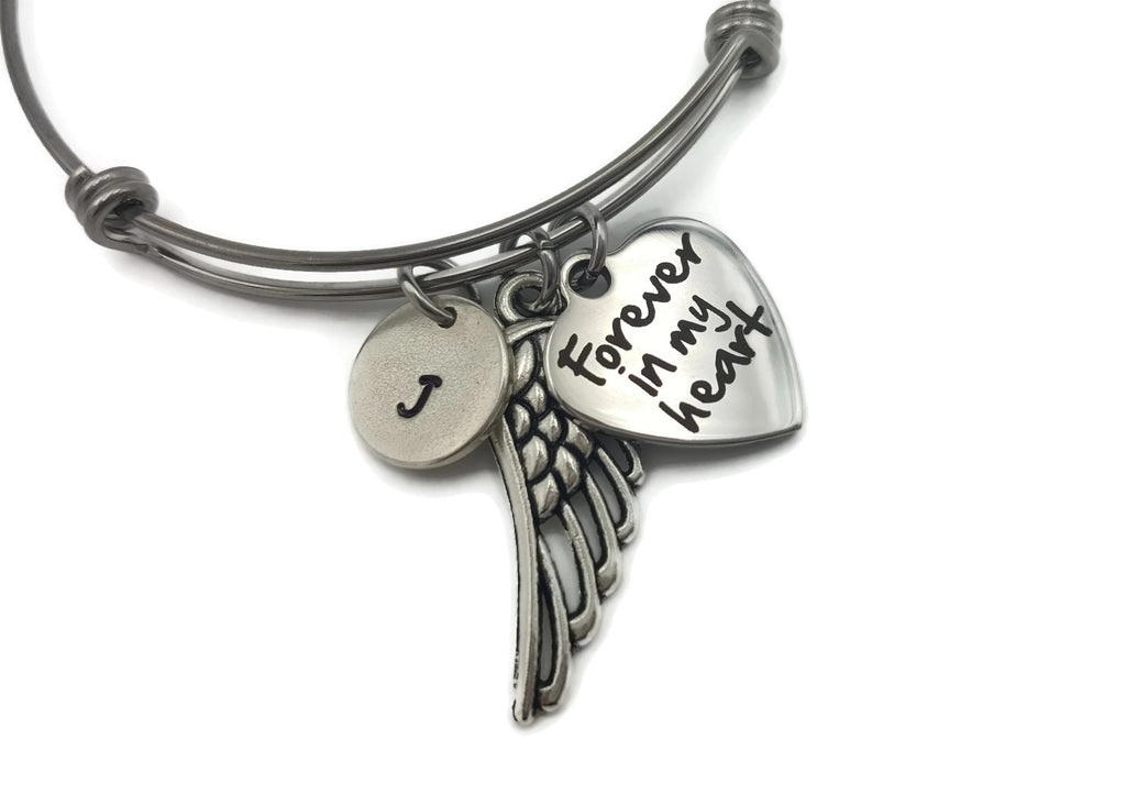 Personalized Memorial Bracelet, Angel Wing Bracelet with Forever In My Heart - Remember Me