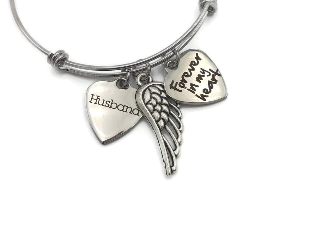 Memorial Bracelet in Memory of Husband - Forever In My Heart - Free Shipping - Remember Me