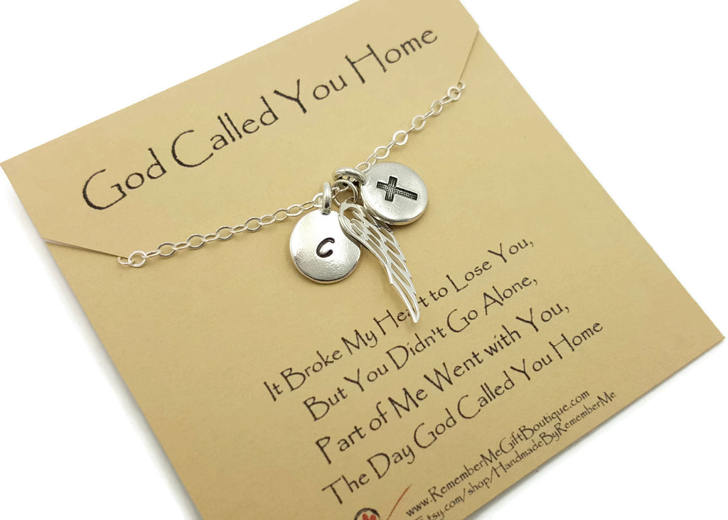 Memorial Necklace with Christian Message - Personalized with Initial - Remember Me