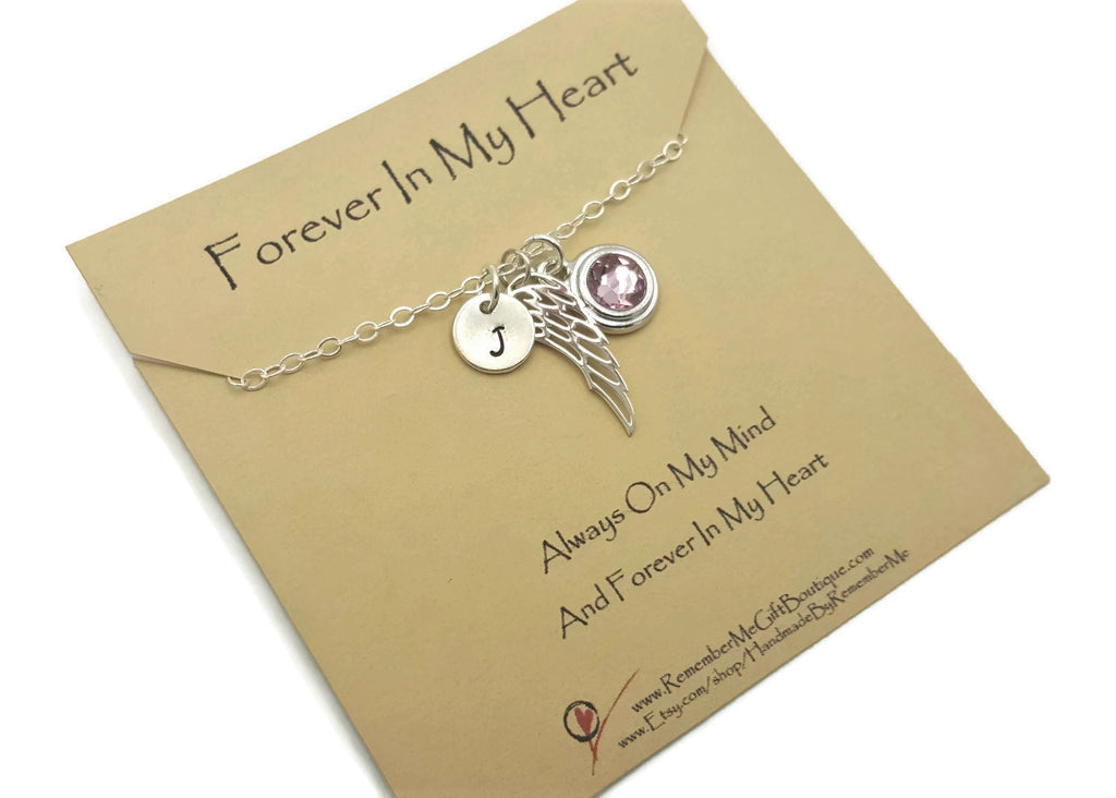 Forever In My Heart Sterling Silver Memorial Necklace with Birthstone, Angel Wing, and Initial - Remember Me