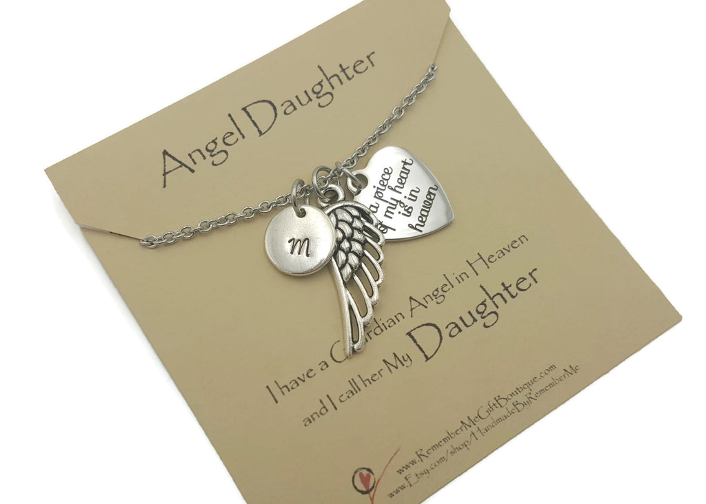 Memorial Necklace for Loss of Daughter Personalized A Piece of My Heart is in Heaven - Remember Me