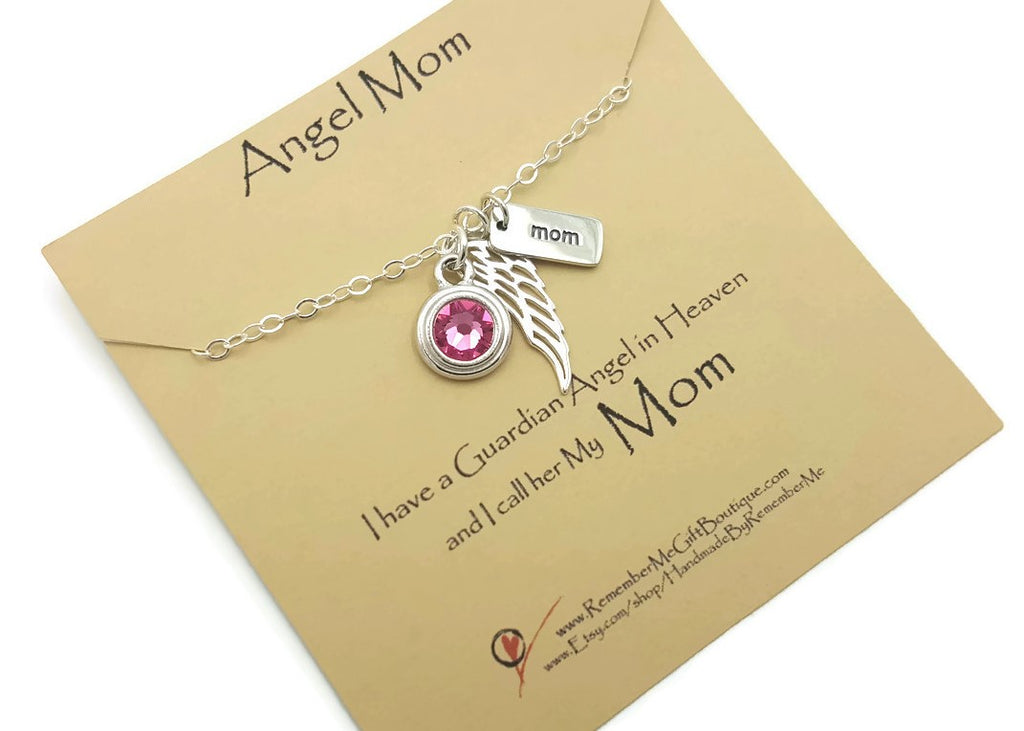 Memorial Necklace In Memory of Mom - Loss of Mother Memorial Gift - Remember Me