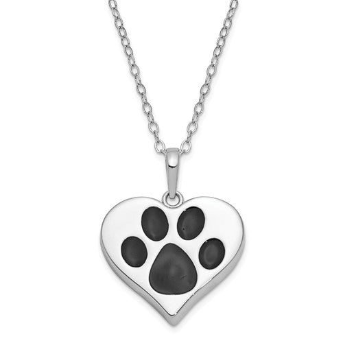 Paw Print Pet Cremation Necklace - Cremation Jewelry for Pet Ashes - Remember Me