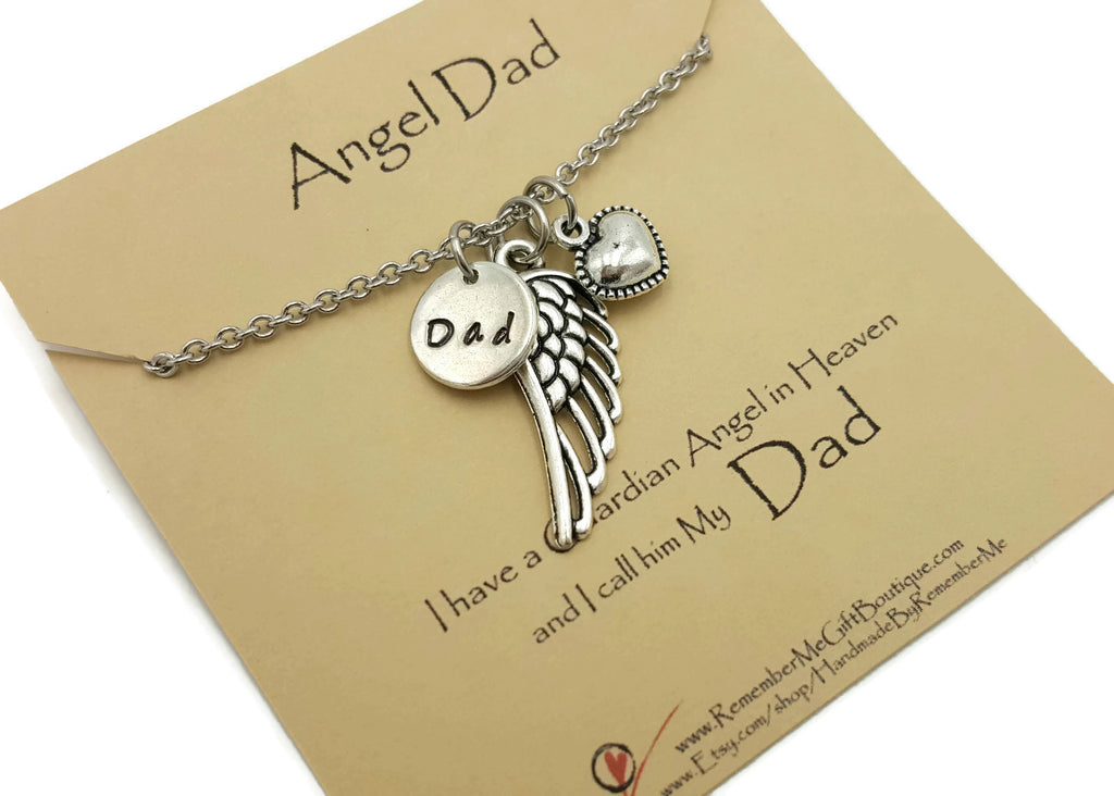 Loss of Dad Memorial Necklace - Remember Me Jewelry Hand Stamped - Remember Me