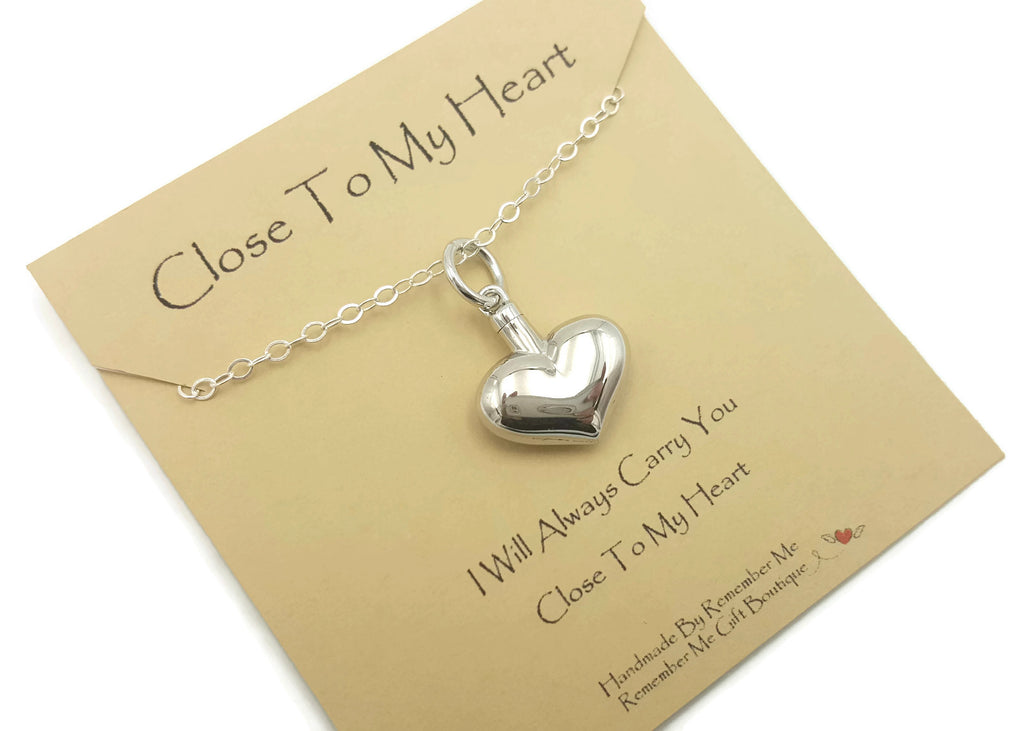 Heart Ash Pendant Necklace - Sterling Silver Cremation Necklace - Remember Me