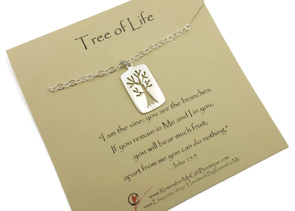 Tree of Life Necklace John 15:5 - Bible Verse Jewelry Christian Jewelry for Women - Free Shipping - Remember Me